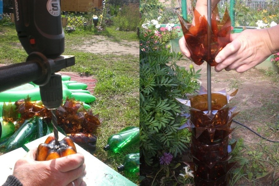 How to make a palm tree from plastic bottles step by step