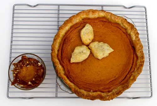 pumpkin pie with spicy pepita brittle - gluten free option