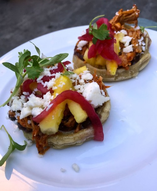 cochinita pibil sopes made by chef javier plascencia of bracero at a specialty produce event at caffe clabria