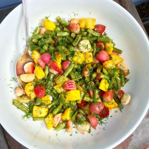 """Roasted beets, radishes, squash and green beans with an orange-dill vinaigrette <div class=""""hrecipe h-recipe jetpack-recipe"""" itemscope itemtype=""""https://schema.org/Recipe""""><div class=""""jetpack-recipe-content""""></div></div>"""