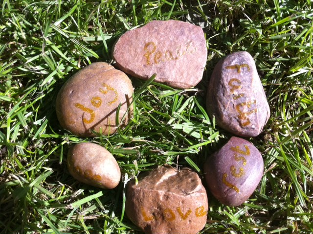 words on stone, a stone circle,