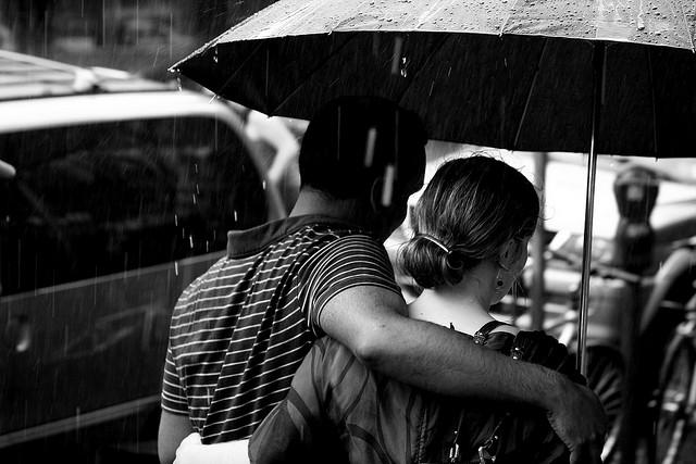 camus quote, walking in the rain, walk together, walking B&W