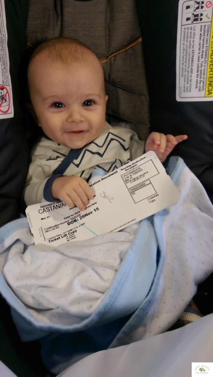 traveling with a baby by plane. baby-on-vacation-travel-babycastanonboard.com-ticket