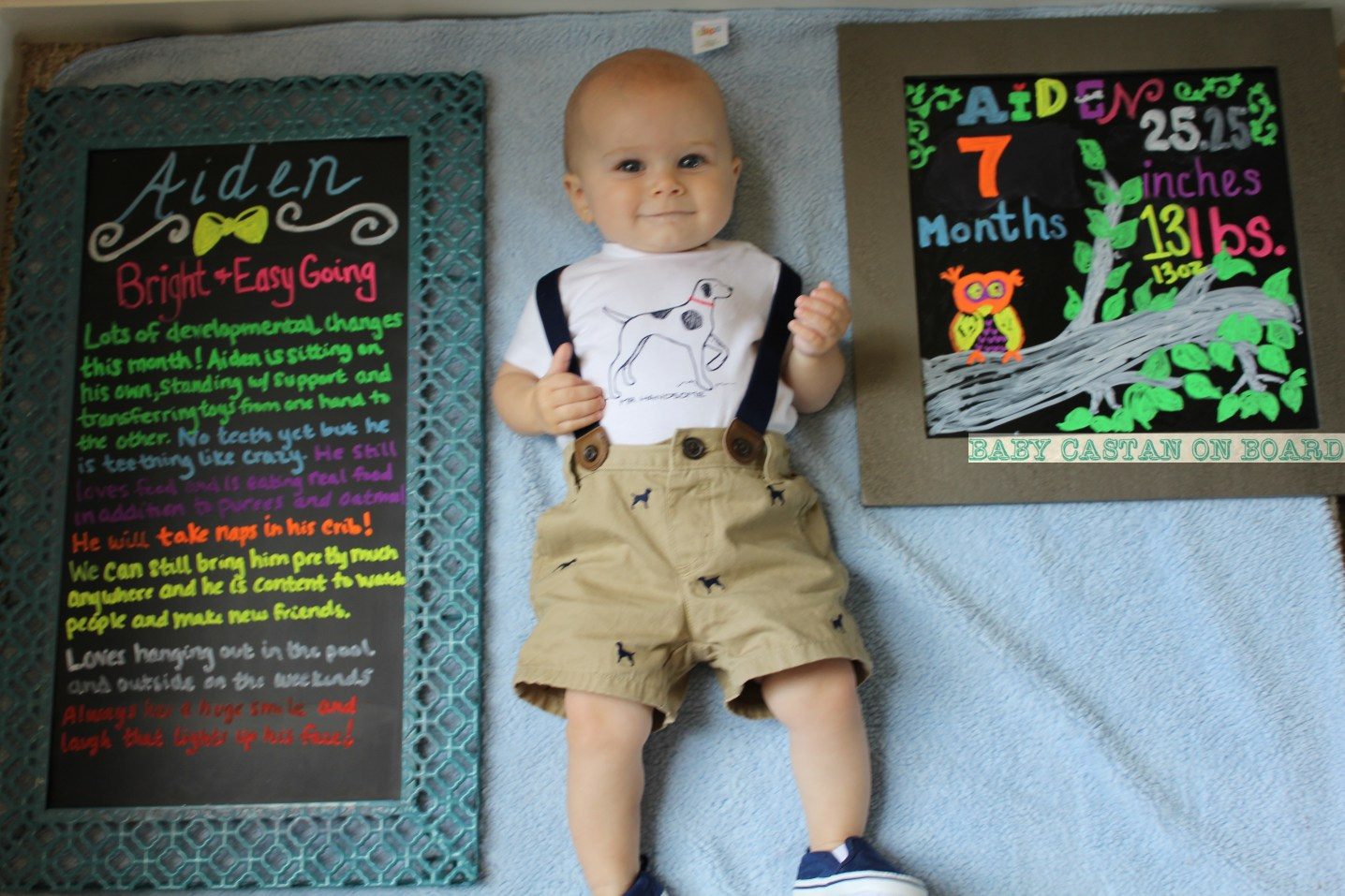 Monthly Milestone Photos for Baby featured by popular DC mommy blogger, Baby Castan on Board