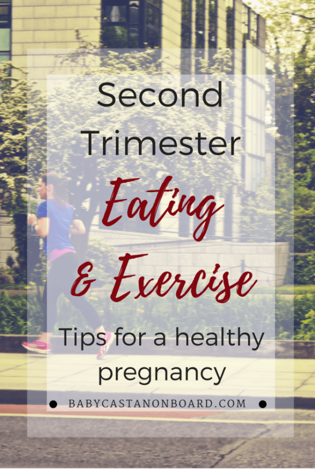 Second trimester eating and exercise. A good idea of what a well-balanced pregnancy diet and exercise program looks like for women in the second trimester.