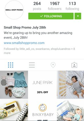 Shop small promo instagram screen shot