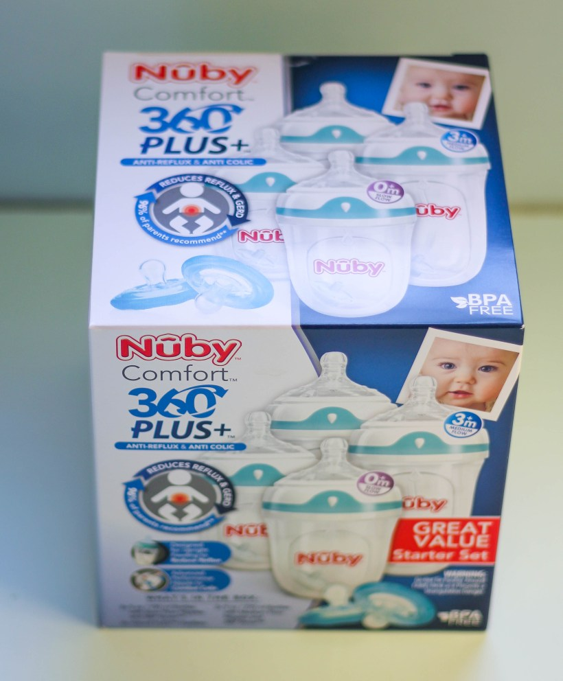 nuby-comfort-360-bottle-box-babycastanonboard.com - Nuby Bottles Review: Nuby Comfort 360 Plus+ Bottles by popular DC mommy blogger Baby Castan on Board