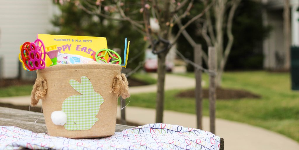 I tried to find small gifts that had an Easter or Spring theme that Aiden could use for awhile. This is what to put in a one year old's Easter Basket.