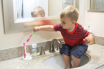 Our toddler has never liked us near his mouth so brushing teeth has been a problem -- until now. Here are tips for getting a toddler to brush his teeth. - Toddler Teeth Brushing: Tips & Tricks by popular DC mommy blogger Baby Castan on Board