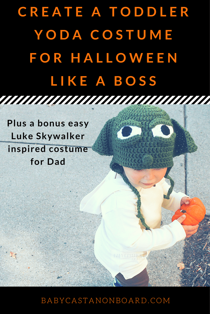 Here is an easy DIY toddler Yoda costume for Halloween using items you already have or will use again. Plus, a bonus Luke Skywalker costume for Dads.