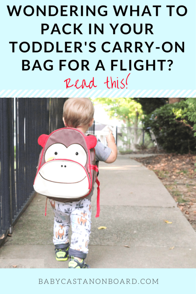 Flying with a toddler can be a challenge. A perfectly packed carry-on bag is a must. Here are tips for packing a toddler carry-on bag for air travel. #baby #toddler #travel #family #momlife