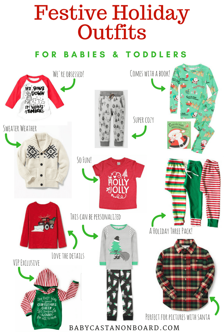 The holidays are officially here -- time is flying! Here is a round-up of my favorite festive holiday outfits for babies & toddlers. #holiday #christmas #roundup #toddler