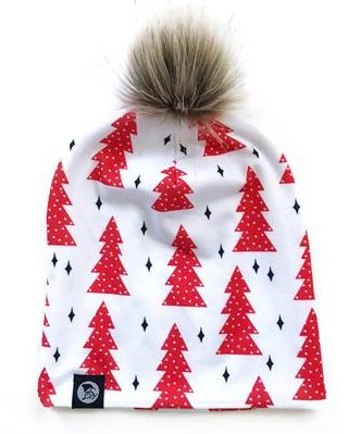 winter hats for babies and toddlers_logan M styles pom beanie trees