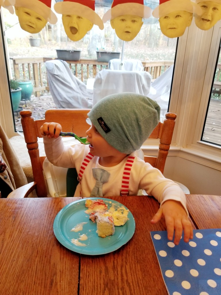 Dr. Seuss Themed Birthday Party-Toddler-Eating-Cake