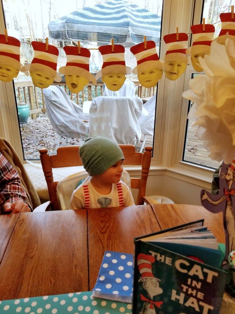 Dr. Seuss Themed Birthday Party-Toddler-With-Cake
