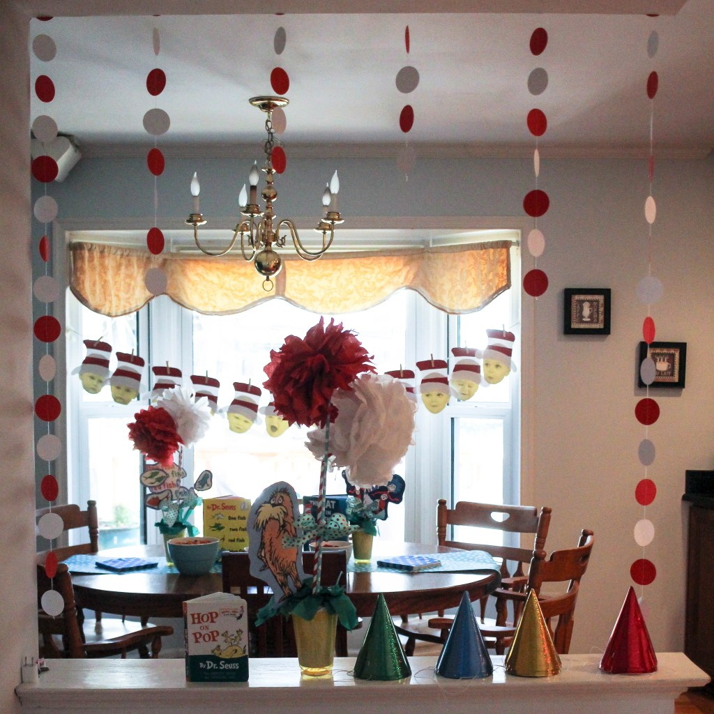 Dr. Seuss Themed Birthday Party-looking-over-half-wall-at-party-decorations-DC-Motherhood Blog