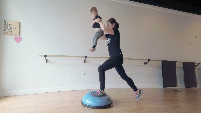 Learn how to incorporate a Bosu Ball in this fun mom and toddler workout by popular DC Mommy Blogger Baby Castan on Board.