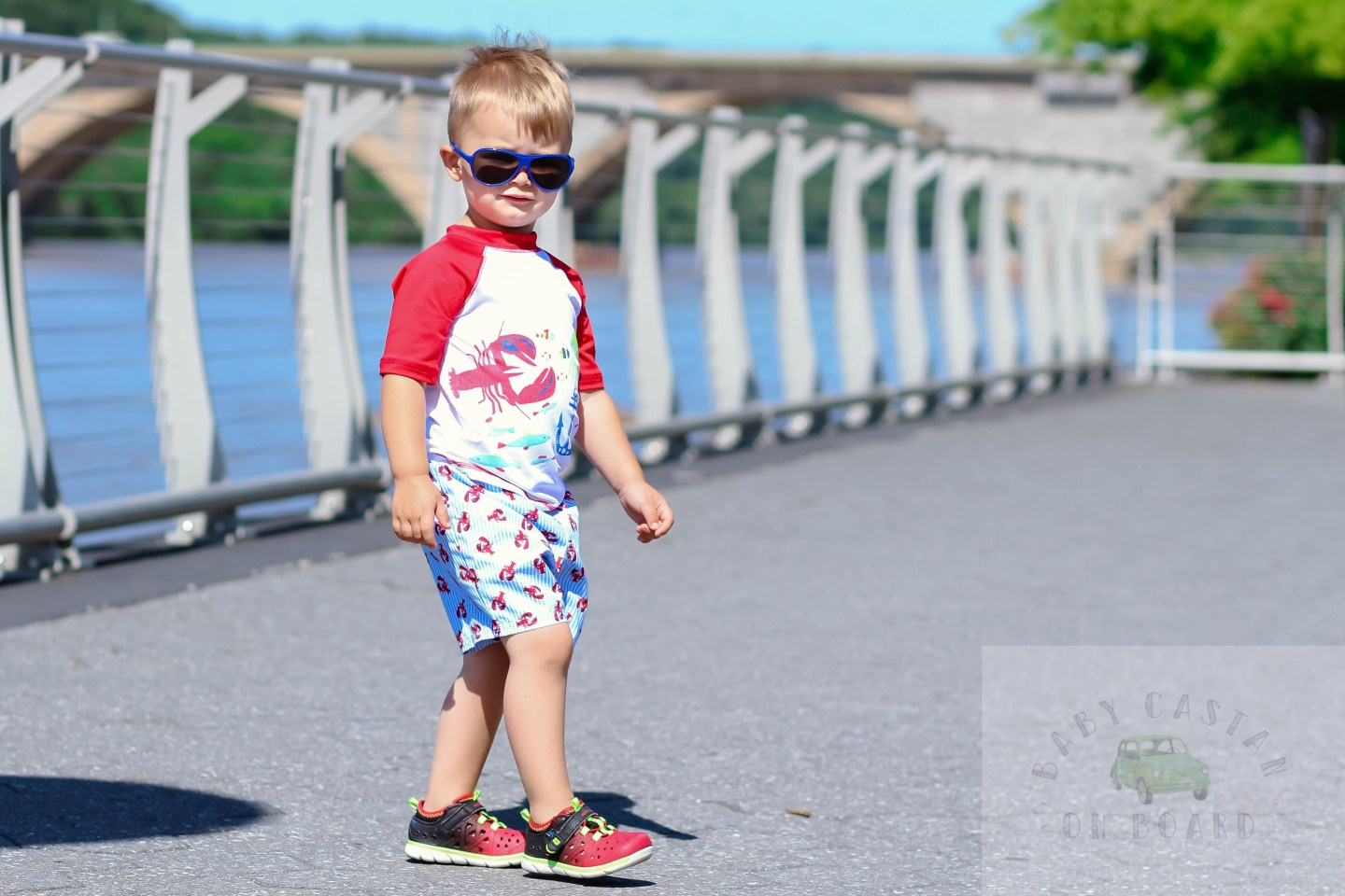 A round-up of the five cutest toddler boy swimsuits for summer by popular DC mommy blogger Baby Castan on Board