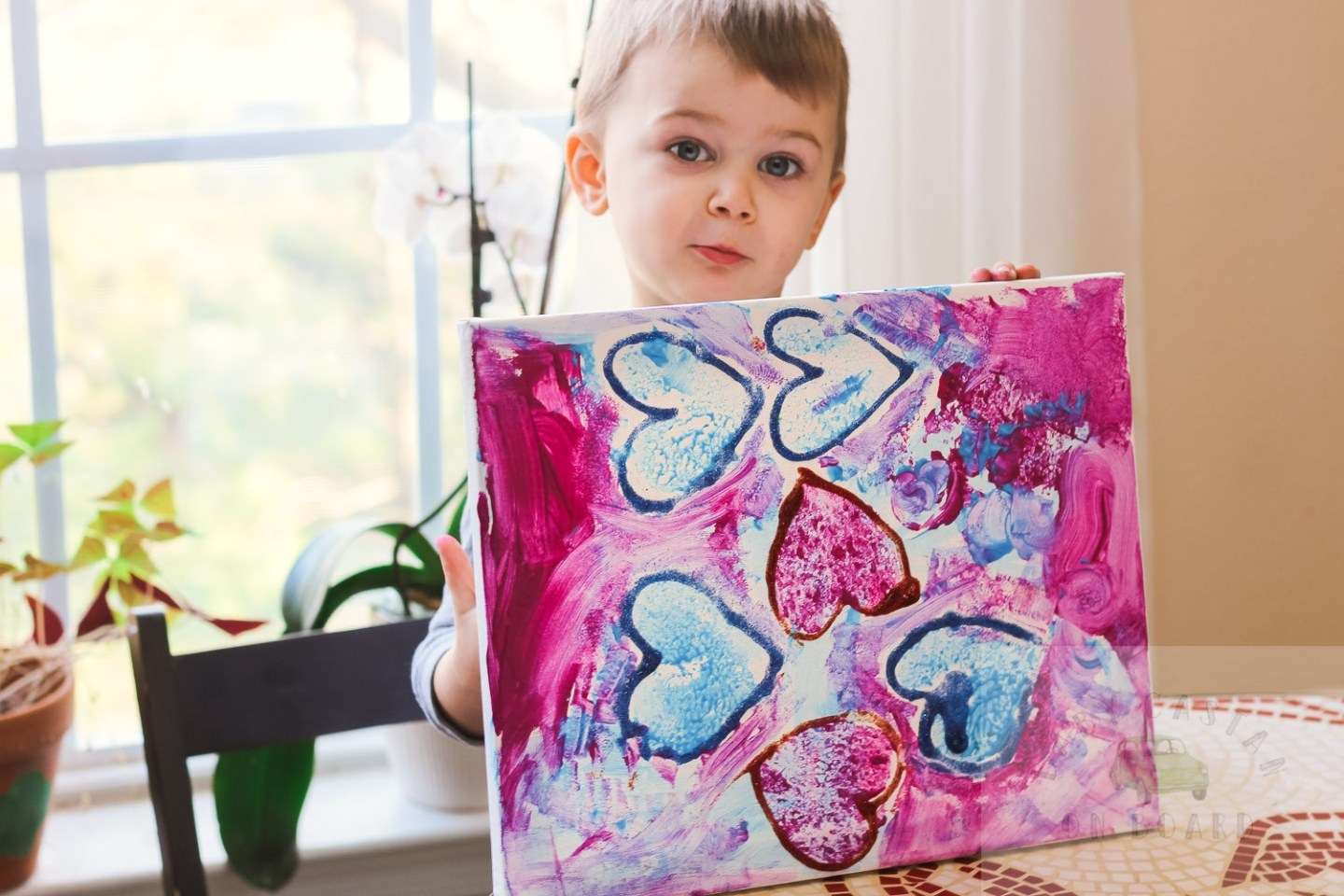 Heart crafts for toddlers_hearts on canvas