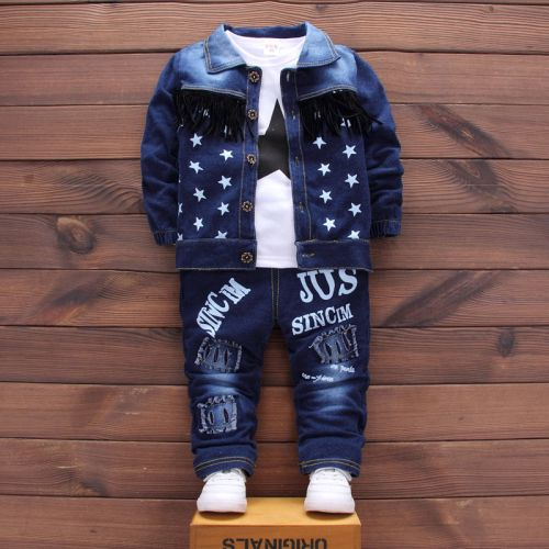 3PCS Baby Toddler Kid Boy Jacket Suit+T-shirt+Jeans Pants Set Clothes Outfits