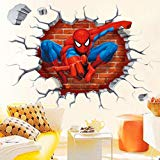 Jiahui Brand DIY Removable Spiderman 3D Cracked Children Themed Art Boy Room Wall Sticker Home Decal, Peel and Stick Wall Decal for Kids Room Wall Decor