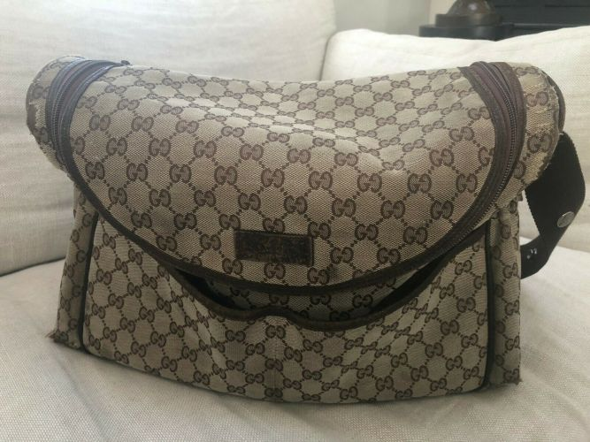 Authentic GUCCI Diaper Bag - Brown Canvas - Used-Fair Condition - FREE SHIPPING!