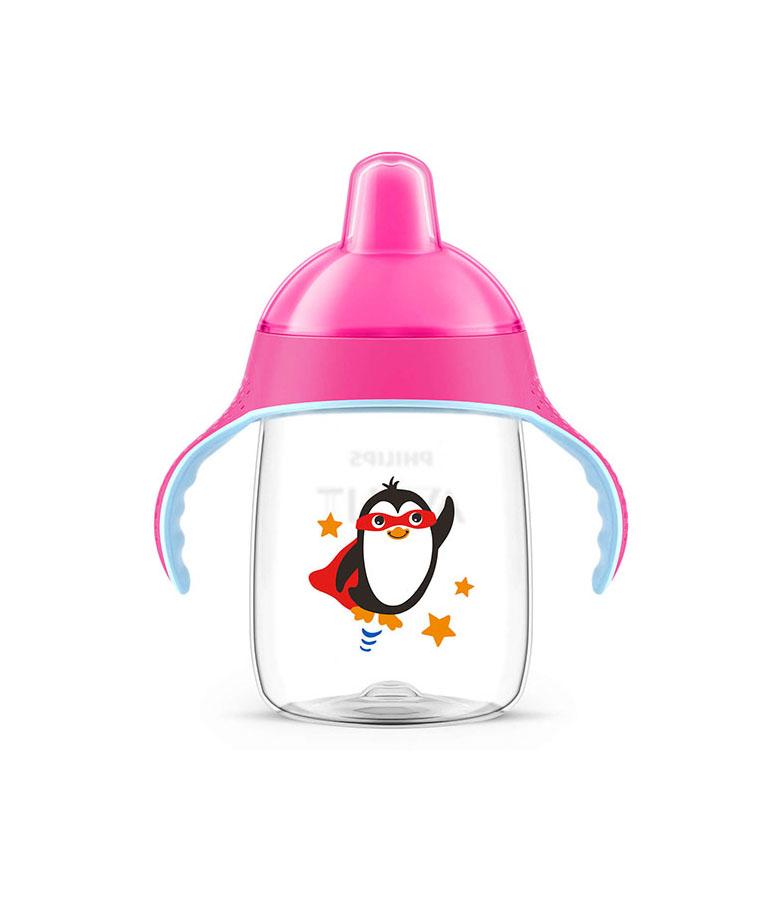 Tasse pingouin avec anses roses anti dérapante 340 ml 18 mois+