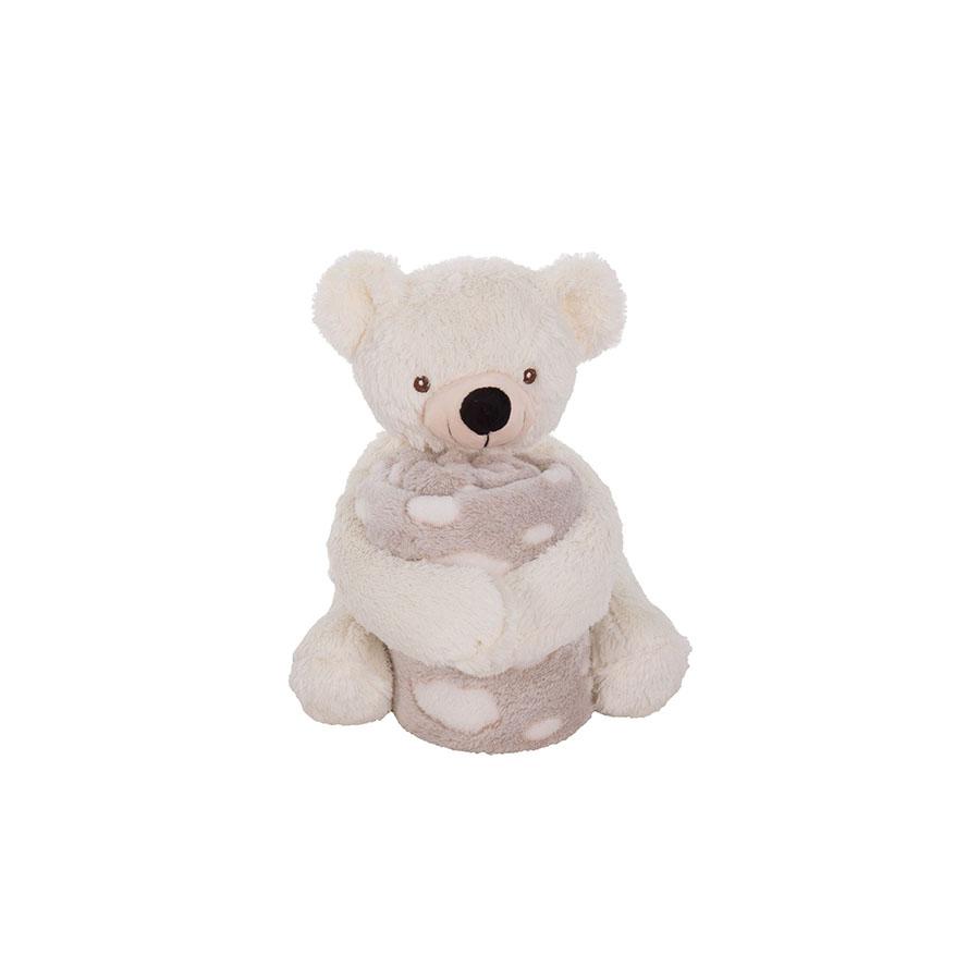 Set doudou + couverture Teddy White