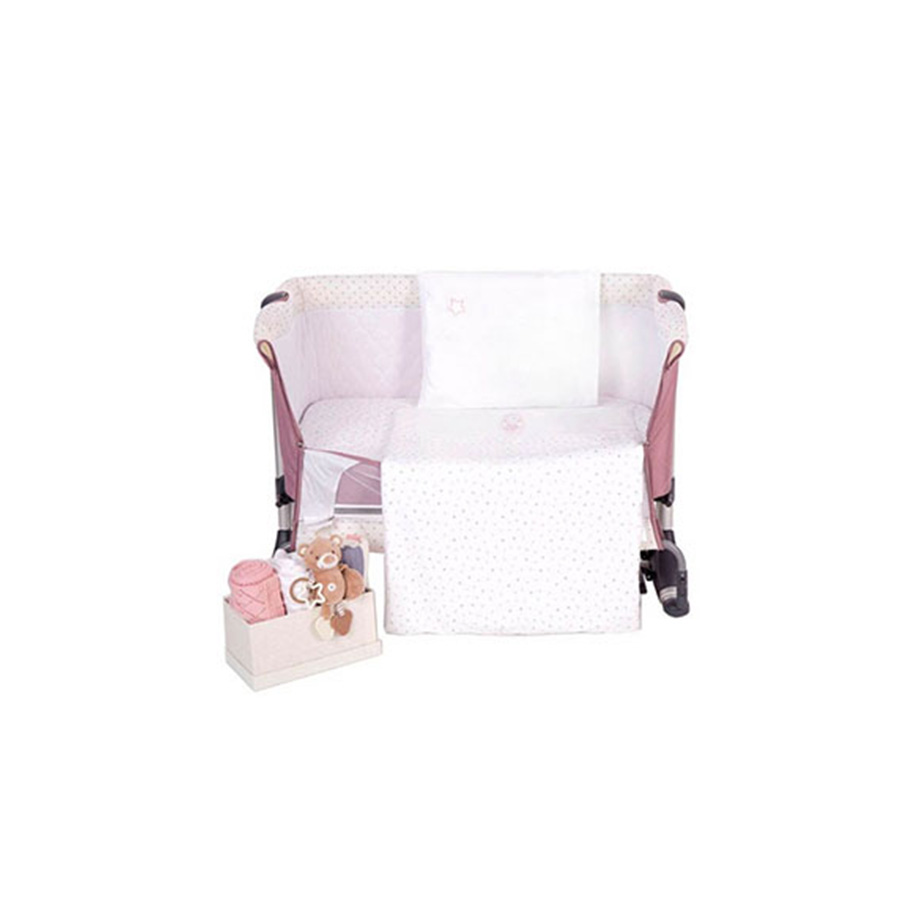 Mini cot bedding set with embroidery Pink