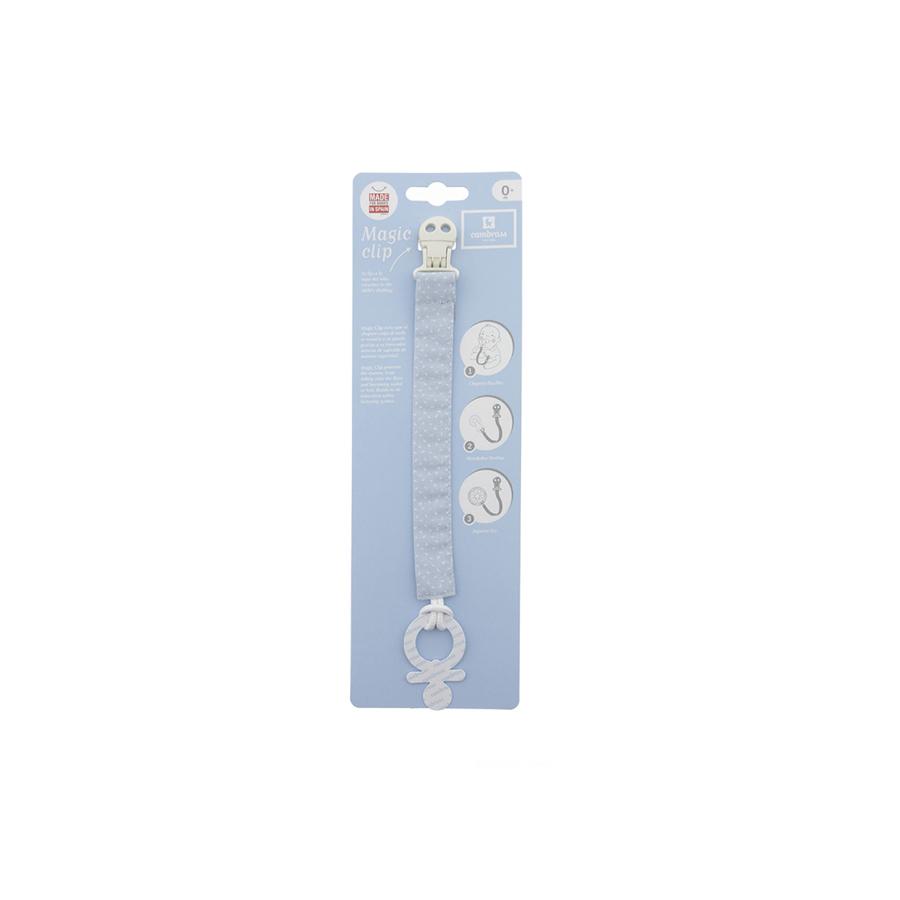Ruban attache sucette sky bleu/pluie 2×21.5 cm