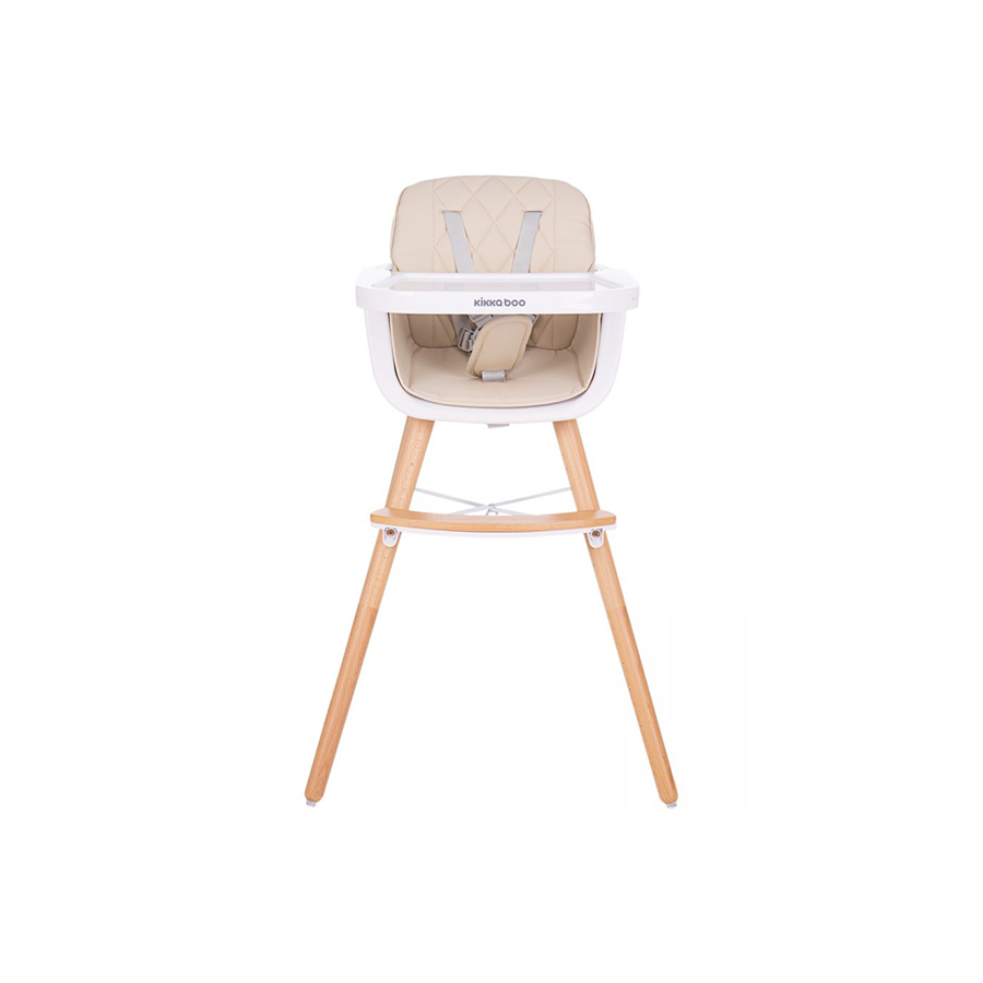 Chaise haute en bois Woody Beige