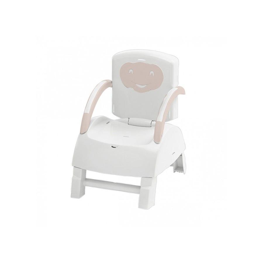 Rehausseur de chaise 2en1 évolutif marron glacé/ blanc cassé