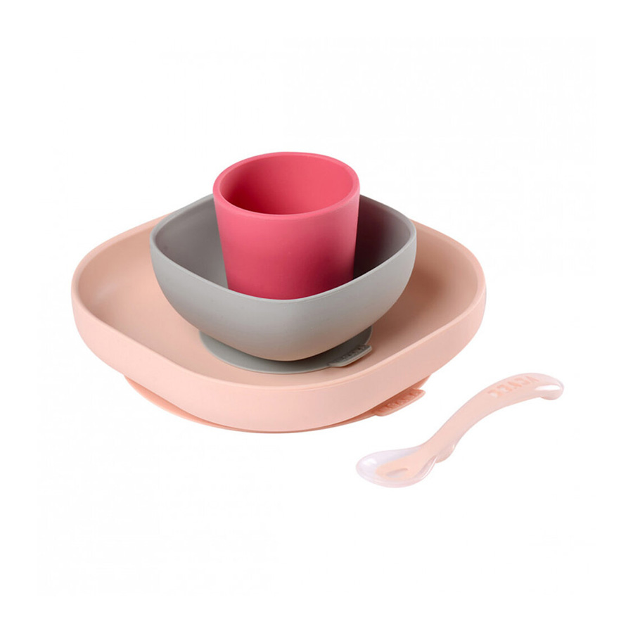 Set vaisselle silicone 4 pièces rose Beaba
