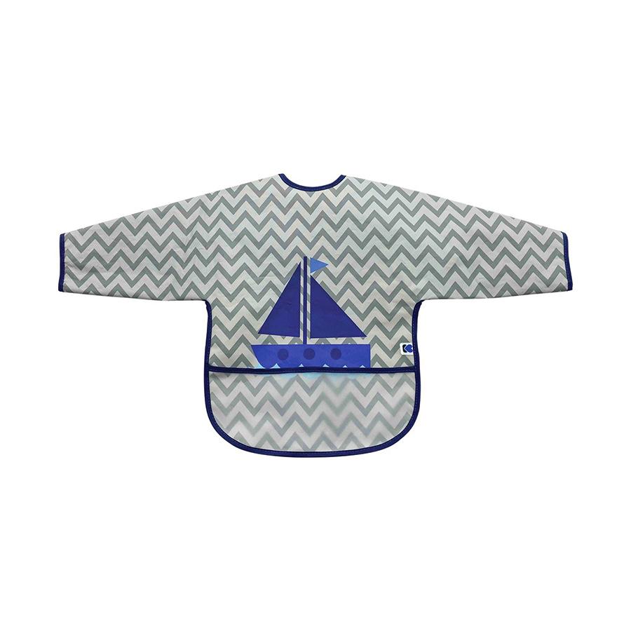 Bavoir à manches longues avec ramasse-miettes Boat Grey