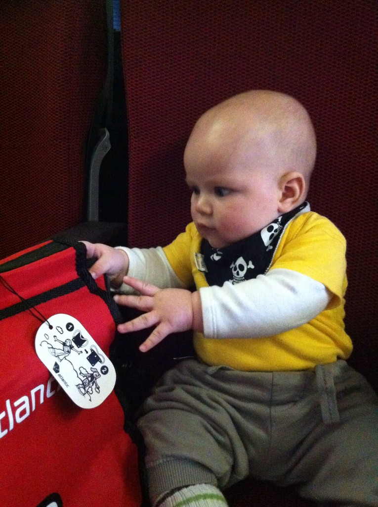 Even though he was 5 months, he still got the child's entertainment kit from Virgin Atlantic on his first long haul flight