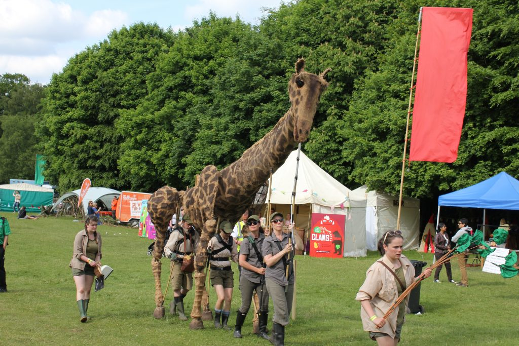 giraffe puppet at geronimo 2016 children festival at tatton park