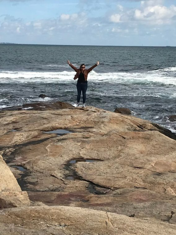 Mo on the rocks at Black Point in Rhode Island.