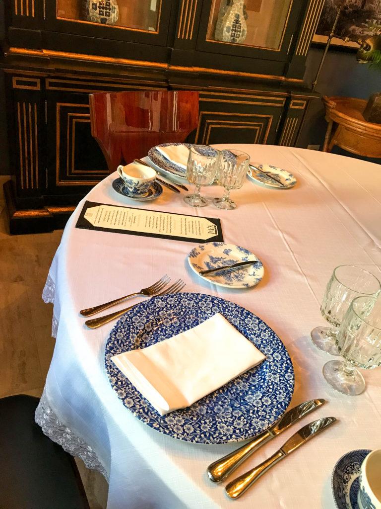 table setup for breakfast in formal dining room at Casa Antillana