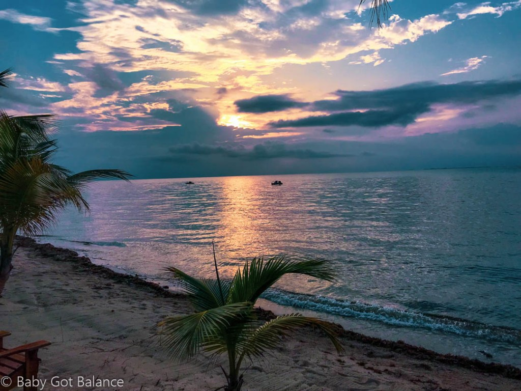 sunrise from the beach at Turtle Inn in Placencia, Belize