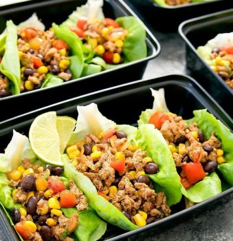 close-up of Taco Lettuce Wraps Meal Prep