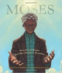 Cover of Moses by Weatherford, illustrated by Kadir Nelson