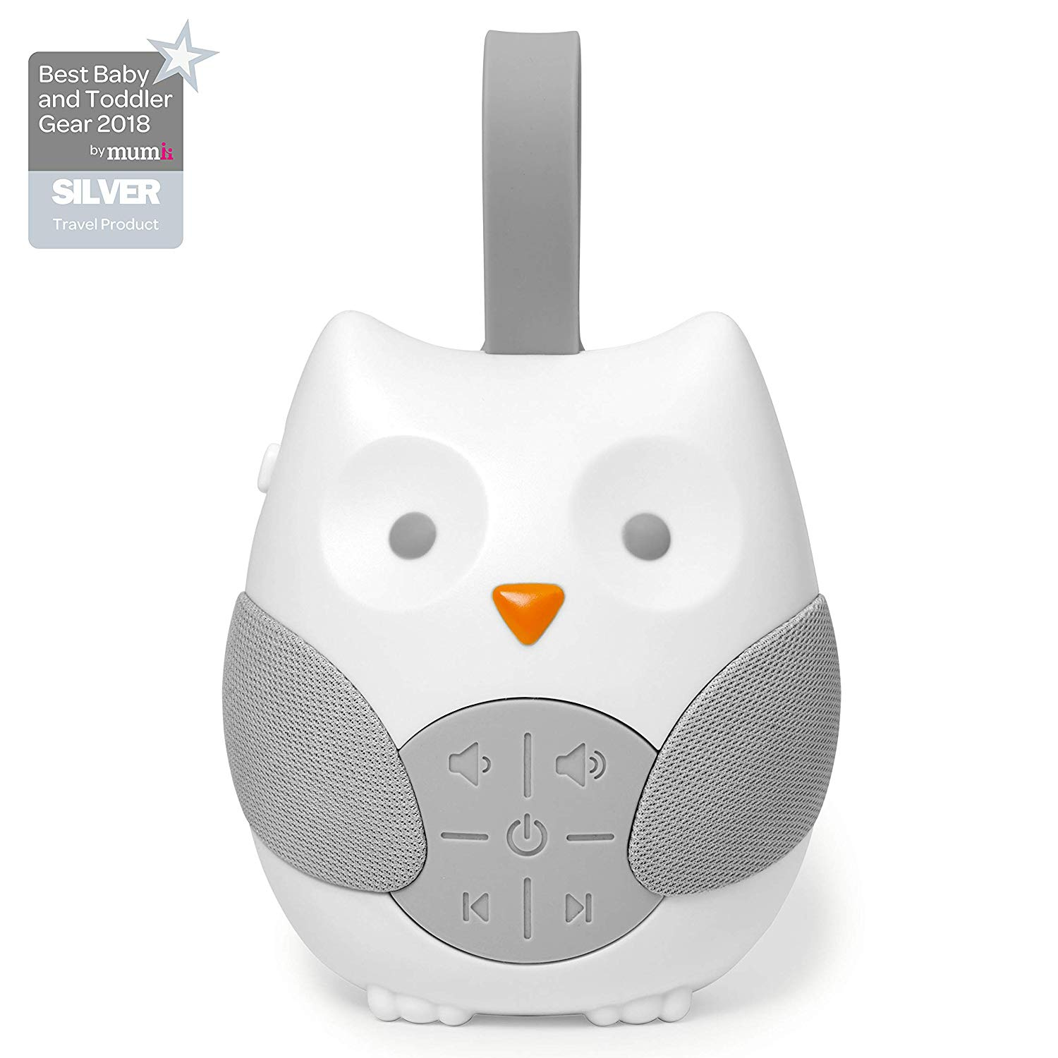 The travel version of Skip Hop soother, with a silicone strap for attachment