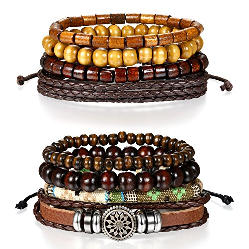 Bracelet Chaîne de Main Unisex Trèssé Réglable Multi-Tours Multi-Rangs Vintage Tribu Ethnique pour Homme Femme Couleur Noir Marron Brun Style Optionnel