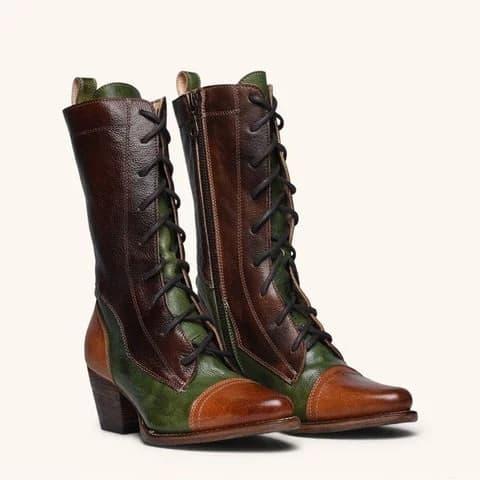 Bottes hautes à lacets en cuir véritable pour femme, modèle pas cher, existe en d'autres couleurs