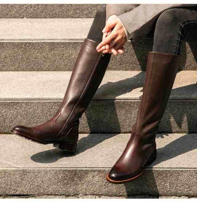Bottes Femmes 2020 pas cher : Bottes longueur genou, véritable cuir pour l'hiver