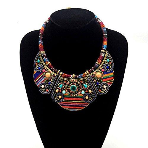 MKHDD Bohème Ethniques Perles Déclaration Bib Collier Ras du Cou pour Femmes Cadeau Partie Daily Casual Costume Bijoux Accessoires