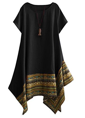 Vogstyle Femme T-Shirt Robe Asymétique Eté Imprimée Chic Décontractés Tunique Tops Noir XXL