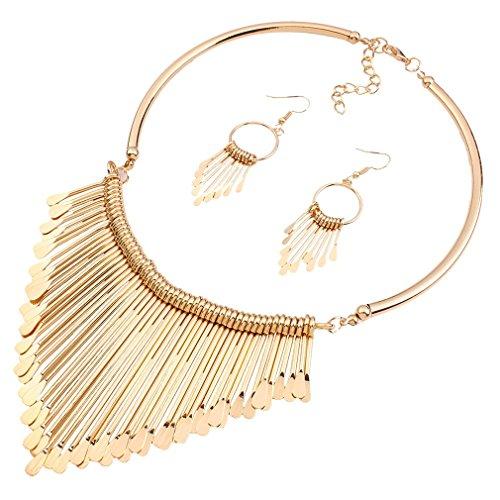 Ethnique Style Tassel Pendentif Goutte d'or False Statement Necklace Collier de 18K Femmes avec Boucles d'oreilles