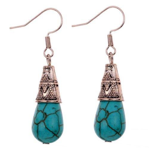 bijoux etonnants argente tibetain vert Waterdrop rimous turquoise des boucles d'oreille pour les femmes