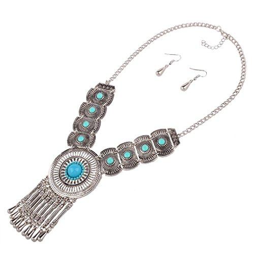 Yazilind Femmes Bohemian Ethnique Déclaration Bib Bleu Vintage Big Colar Boucles d'oreilles Collier Dangle Bijoux Set